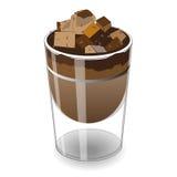 Schokoladenkuchenkuchen im Glas, Vektor-Illustration Lizenzfreie Stockfotos