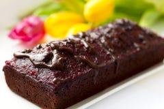 Schokoladenkuchennahaufnahme Stockbilder