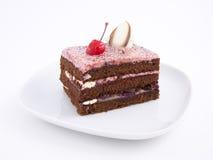 Schokoladenkuchenscheibe Stockfoto