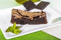 Schokoladenkuchenscheibe Stockbild
