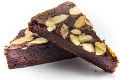 Schokoladenkuchenweißhintergrund Lizenzfreies Stockfoto