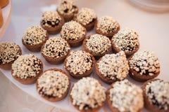Schokoladenminitörtchen Stockfoto