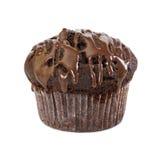 Schokoladenmuffin mit flüssiger Schokolade Stockbild