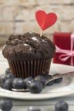 Schokoladenmuffin mit Milch Stockfotografie