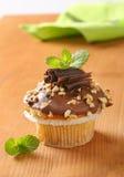 Schokoladenmuffin mit Nüssen stockbild