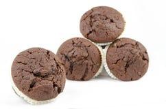 Schokoladenmuffins lokalisiert auf Weiß Stockfotografie