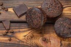 Schokoladenmuffins mit Lizenzfreies Stockbild