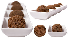 Schokoladennachtische getrennt auf Weiß Stockfoto