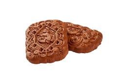 Schokoladenplätzchen auf einem weißen Hintergrund Stockfoto