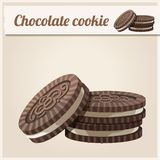 Schokoladenplätzchen Ausführliche Vektor-Ikone Lizenzfreie Stockbilder