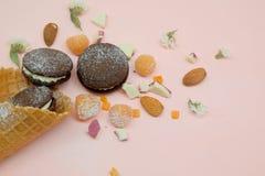 Schokoladenplätzchen in der Eistüte mit weißem Creme- und Zuckerpulver Stockbild