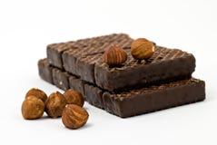 Schokoladenplätzchen mit Muttern Stockfoto