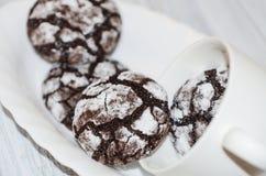 Schokoladenplätzchen mit Puderzucker und geknackt Stockfoto