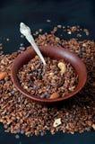Schokoladenplätzchengranola mit Acajoubaum- und Mandelnüssen Stockfotografie
