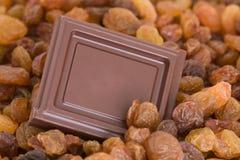 Schokoladenquadrat mit Rosinen Stockfoto