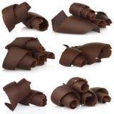 Schokoladenschnitzel eingestellt Lizenzfreie Stockbilder