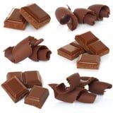 Schokoladenschnitzel mit den Blöcken eingestellt Stockbilder