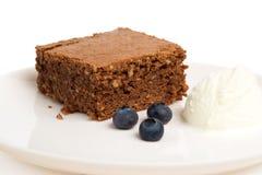 Schokoladenschokoladenkuchen mit Eiscreme Stockbild