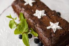 Schokoladenschokoladenkuchenkuchen mit frische Blaubeer- und des raffinierten Zuckerssternen Lizenzfreie Stockfotos