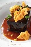 Schokoladenschwamm-Puddingnachtisch Stockbild