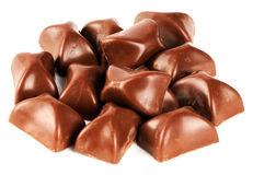 Schokoladensüßigkeiten über Weiß Lizenzfreie Stockfotos
