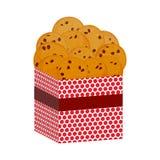 Schokoladensplitterplätzchen, frisch gebacken vier Plätzchen Anwesende rosa Geschenkbox mit Keksen Helle Farben auf weißem Hinter Stockbild