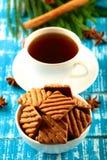 Schokoladensplitterplätzchen mit Kaffee Lizenzfreie Stockfotos