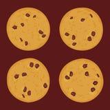 Schokoladensplitterplätzchensatz, frisch gebacken vier Plätzchen auf dunkelbraunem Hintergrund Helle Farben Vektor Lizenzfreies Stockfoto