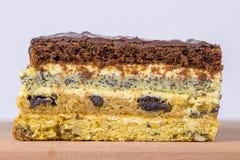 Schokoladenstück des Kuchens vom Keksteig mit Mohn, Pflaume und Walnüssen Stockfoto