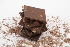 Schokoladenstücke Lizenzfreie Stockfotos