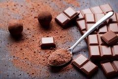 Schokoladenstücke mit Kakaopulver lizenzfreie stockfotografie