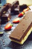 Schokoladentörtchennachtische Stockfoto