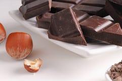 Schokoladenteile mit Haselnüssen auf einem Tellerabschluß oben Stockbilder