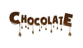Schokoladentext gemacht vom Schokoladenschmelzen  Stockfotos