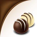 Schokoladentextfeld mit Schokoladenbonbon Lizenzfreie Stockbilder