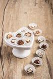 Schokoladentrüffel auf Holz, Textraum Lizenzfreie Stockbilder