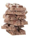 Schokoladenturm lokalisiert auf einem weißen Hintergrund Stockbilder