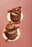 Schokoladenvelour-Kremeiskuchen mit Feigen und Zimt Stockbild