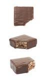 Schokoladenwaffelschokoriegel lokalisiert Stockfotografie