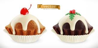 Schokoladenweihnachtskleiner kuchen, feenhafter Kuchen mit Kirsche Ikone des Vektor 3d Lizenzfreie Stockfotos