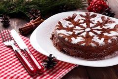 Schokoladenweihnachtskuchen Stockbild