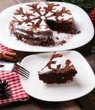 Schokoladenweihnachtskuchen Stockfoto