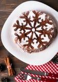 Schokoladenweihnachtskuchen Lizenzfreies Stockfoto