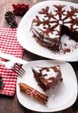 Schokoladenweihnachtskuchen Lizenzfreie Stockfotos