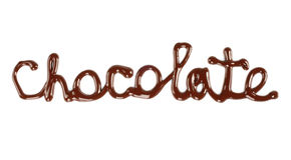 Schokoladenwort gemacht von der flüssigen Schokolade lizenzfreies stockbild