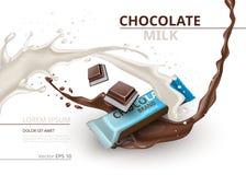 Schokoriegel mit Milch realistischem Spott herauf Vektoraufkleberdesign Spritzen- und Schokoladenplätzchenhintergrund stock abbildung