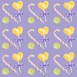 Schokoriegelhandgezogenes Aquarellmuster, Lutscher und helle Farben des Bogens - purpurrot, grünes, gelbes Einklebebuchpapier an lizenzfreie abbildung