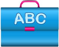 Scholar briefcase. With handle and ABC letters isolated over white background Stock Photos