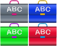 Scholar briefcases. With handle and ABC letters isolated over white background color set Stock Images
