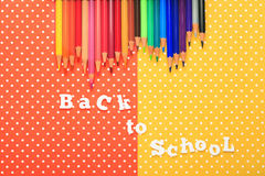 Scholar material to back to school in colored background Stock Images